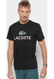 Camiseta Lacoste Logo Masculina - Masculino-Preto