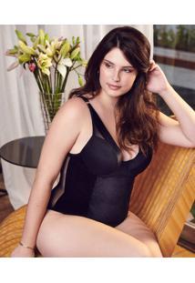 Body Feminino Veludo Tule Plus Size Marisa