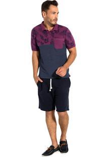 Camisa Polo Seeder Meia Malha Com Elastano Roxo