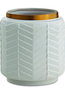 Vaso Geomã©Trico- Branco & Dourado- 16Xã˜15Cm- Marmart