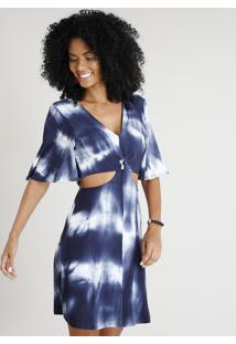 85c215f24 ... Vestido Feminino Curto Com Recortes Estampado Tie Dye Manga Curta Azul  Marinho