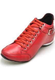 Bota Clube Do Sapato De Franca Top Confort 2 Fivela Feminina - Feminino-Vermelho