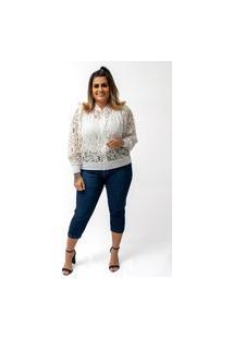 Jaqueta Blusa Feminina Bomber Renda Branca Lycra Plus Size Confidencial Extra Branco