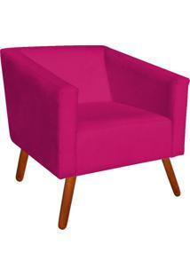 Poltrona Decorativa Sara Suede Pink Pés Palito - D'Rossi