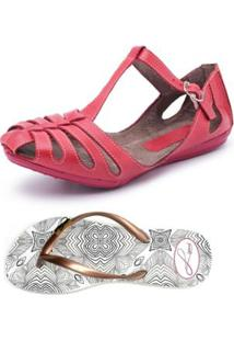 Kit Sapatilha + Chinelo Top Franca Shoes - Feminino-Vermelho