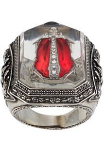 Alexander Mcqueen Embellished Bug Engraved Ring - Prateado
