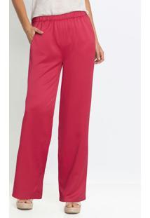 Calça Pantalona Acetinada Rosa Pink
