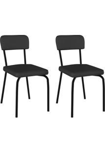 Conjunto Com 2 Cadeiras Vinil Supreme Preto