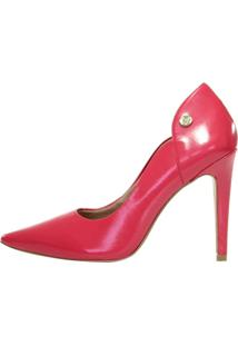 Scarpin Salto Alto Week Shoes Couro Coral