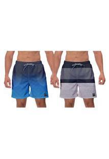 Kit 2 Shorts Moda Praia Azul Cinza Conforto Esporte Corrida Água Surf Banho W2