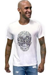 Camiseta Estonada Caveira Olho Flor - Masculino