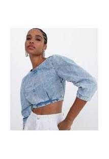 Blusa Cropped Em Jeans Marmorizado Com Manga Princesa | Blue Steel | Azul | M