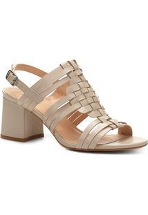 Sandália Couro Shoestock Salto Bloco Tramado - Feminino-Off White