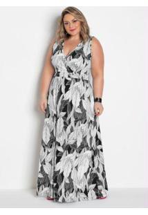 Vestido Longo Transpassado Plus Size Folhagem
