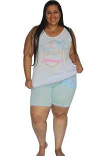 Conjunto Pijama Victory Plus Size Calor Curto Verão Feminino - Feminino-Azul Claro