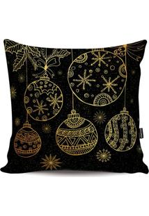 Capa Para Almofada Bolas Ornamentadas- Preta & Dourada