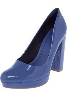 Scarpin Ramarim Meia-Pata Verniz Azul