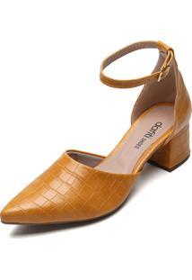 Scarpin Dafiti Shoes Croco Amarelo - Amarelo - Feminino - Sintã©Tico - Dafiti