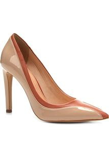 Scarpin Couro Shoestock Salto Alto Ondas - Feminino-Marrom+Bege