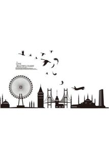 Adesivo De Parede London Urban- Preto- 60X90Cm- Evolux