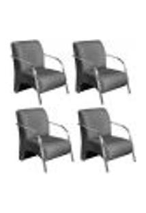 Conjunto De 4 Poltronas Sevilha Decorativa Braço Alumínio Cadeira Para Recepção, Sala Estar Tv Espera, Escritório - Linho Cinza