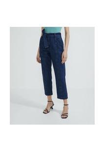 Calça Jeans Reta Com Amarração Em Cinto Faixa E Bolsos Com Lapelas