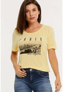 Camiseta Estampa Frontal Marisa Manga Curta Feminina - Feminino-Amarelo
