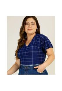 Body Plus Size Feminino Quadriculado Manga Curta