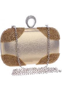 Bolsa Clutch Liage Alã§A RemovãVel Tecido Metalizado Metal Strass Cristal Pedra Dourada - Dourado - Feminino - Dafiti