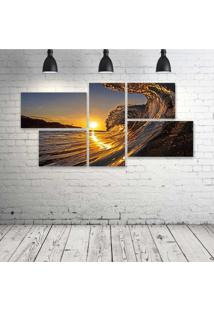 Quadro Decorativo - Sunset-Wave - Composto De 5 Quadros