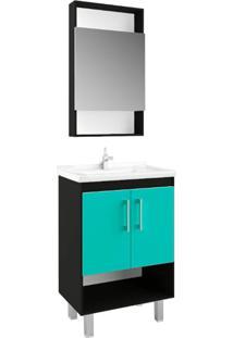Gabinete Compacto Para Banheiro Com Nicho Nero E Verde Mar - Multicolorido/Preto/Verde - Dafiti