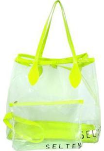 Bolsa Selten Transversal + Necessaire Transparente Neon Feminina - Feminino-Verde