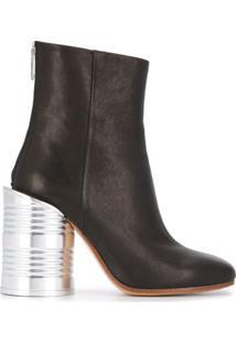 Mm6 Maison Margiela Ankle Boot Com Salto Fino - Preto