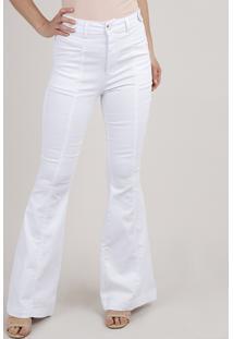 Calça De Sarja Feminina Flare Com Recorte Branca