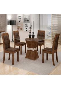 Conjunto De Mesa De Jantar Vitória Com 4 Cadeiras Rubi Veludo Chocolate E Marrom