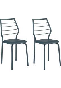 Conjunto 2 Cadeiras 1716 Casual Napa Azul Noturno Azno