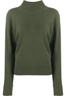 Theory Rib-Knit Trimmed Jumper - Verde