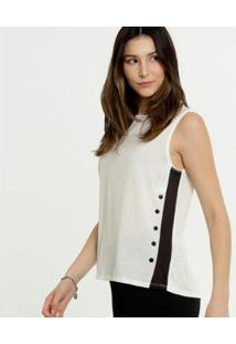 Blusa Marisa Bicolor Botões Feminina - Feminino-Bege+Preto