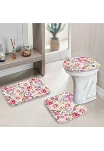 Jogo Tapetes Para Banheiro Flowers Pink