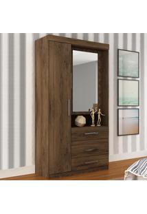 Guarda-Roupa 2 Portas 3 Gavetas 26Gr2307 Com Espelho Cacau - Rodial