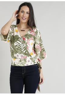Blusa Feminina Estampada Floral Com Amarração Manga Ampla Bege Claro
