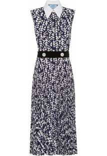 Prada Vestido Midi Com Cinto E Estampa Geométrica - Azul