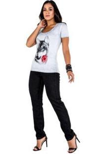Tshirt Wolf Latifundio Feminina - Feminino-Cinza Claro