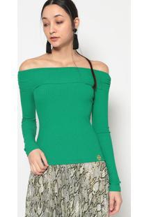 Blusa Ombro A Ombro Canelado- Verde Escuro- Miss E Mmiss & Misses