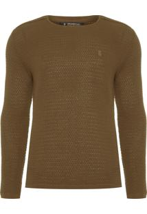 Suéter Masculino Detalhe Ombro - Marrom