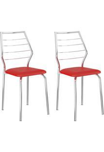 Conjunto 2 Cadeiras 1716 Casual Napa Vermelho Real Cromado