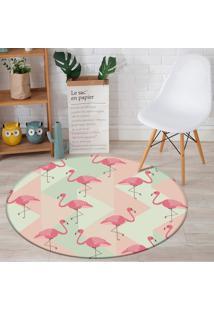 Tapete Redondo Wevans Flamingo Clássico 94Cm