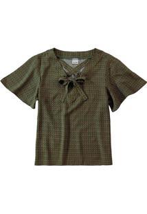 Blusa Estampada Amarração Frontal Malwee