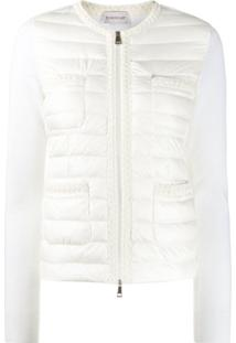 Moncler Embroidered-Trim Collarless Down Jacket - Branco