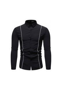 Camisa Masculina Com Listra - Preta